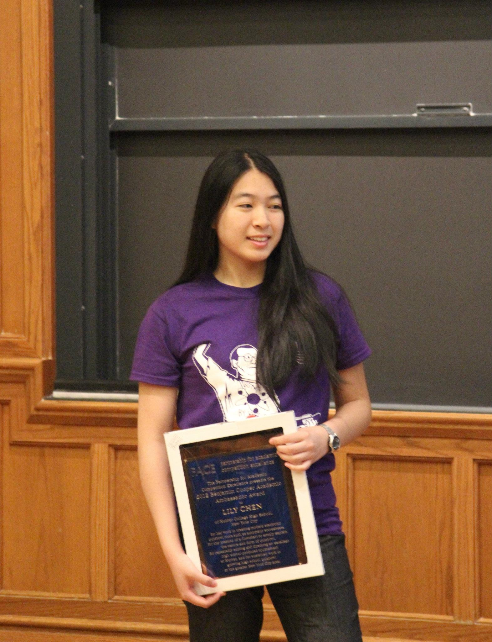 Lily Chen receiving her Cooper Award